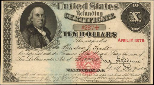 Friedberg 213. 1879 $10 Refunding Certificate. PCGS Currency Choice About New 58 PPQ