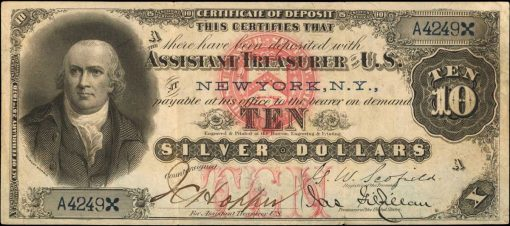 Friedberg 284. 1878 $10 Silver Certificate. PCGS Currency Extremely Fine 40