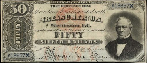 Friedberg 324c. 1878 $50 Silver Certificate of Deposit. PCGS Currency Very Fine 30