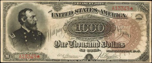 Friedberg 379a 1890 $1000 Treasury Note. PCGS Currency About New 50