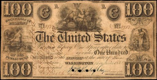 Hessler X99D. 1838 $100 Interest Bearing Note. PCGS Currency Very Good 10.