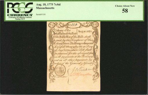 1775 7 Shillings 6 Pence