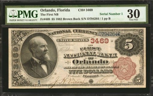 1882 $5 Orlando Brown Back