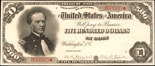 1891 $500 Treasury Note Face Proof Pair