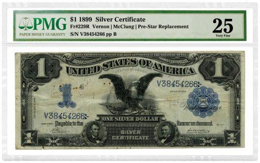 1899_SilverCertificate_1D_Fr229R_VernonMcClungPreStarReplacement