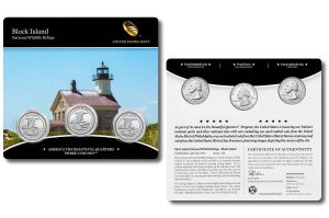 Block Island Quarters for Rhode Island in Three-Coin Set
