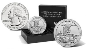 2018-P Block Island National Wildlife Refuge Uncirculated Five Ounce Silver Coin and Packaging