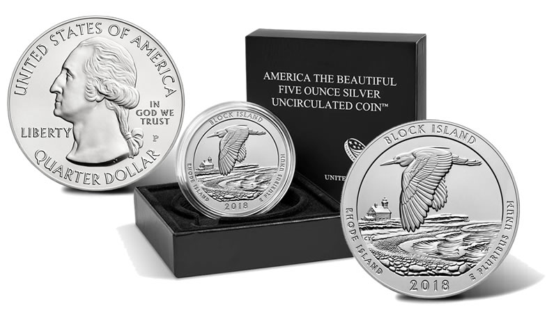 2018 P Block Island National Wildlife Refuge Uncirculated Five Ounce Silver Coin And Packaging
