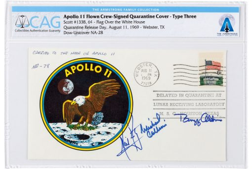 Apollo 11 Flown Crew-Signed Quarantine Cover