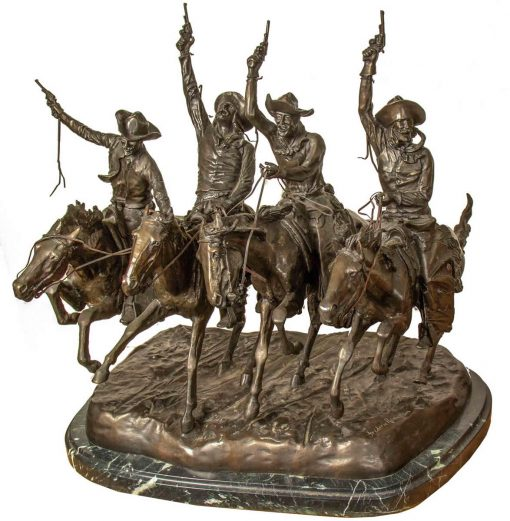 Frederic Remington bronze titled Coming Through the Rye