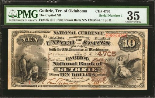 Guthrie, Oklahoma. $10 1882 Brown Back