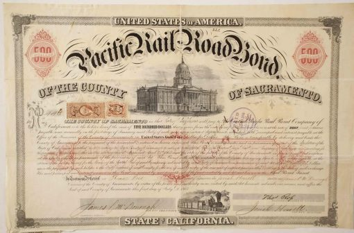 Pacific Rail Road bond number 446 for $500