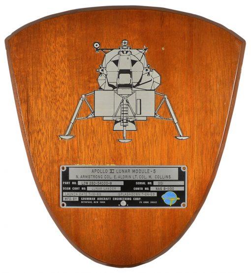 Spacecraft Identification Plate flown on Apollo 11 lunar module