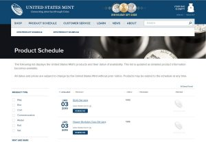 US Mint Product Schedule Screenshot