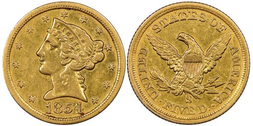 1854 San Francisco Half Eagle coin