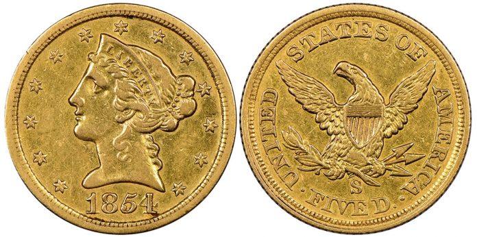1854 San Francisco Half Eagle coin