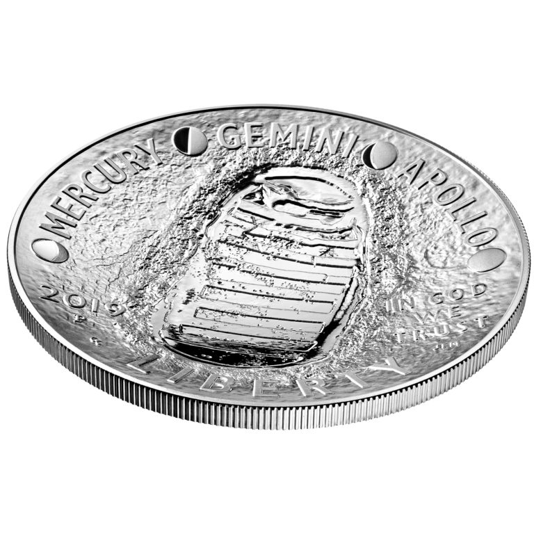 dabfab1be1c7a 2019-P Proof Apollo 11 50th Anniversary Five Ounce Silver Dollar - Obverse  Angle