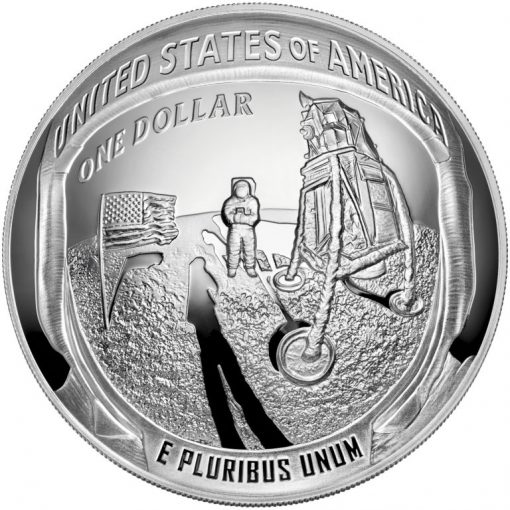 2019-P Proof Apollo 11 50th Anniversary Five Ounce Silver Dollar - Reverse