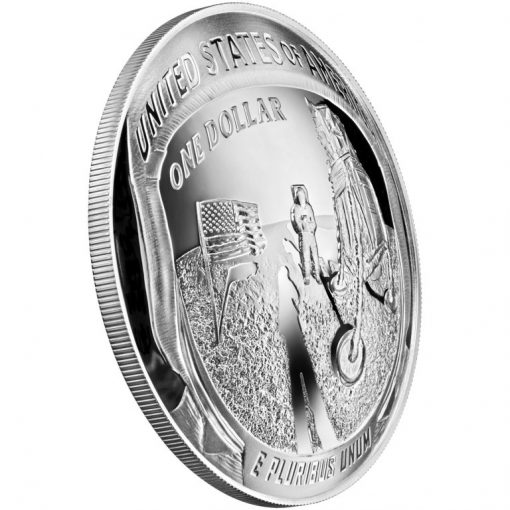 2019-P Proof Apollo 11 50th Anniversary Five Ounce Silver Dollar - Reverse Angle