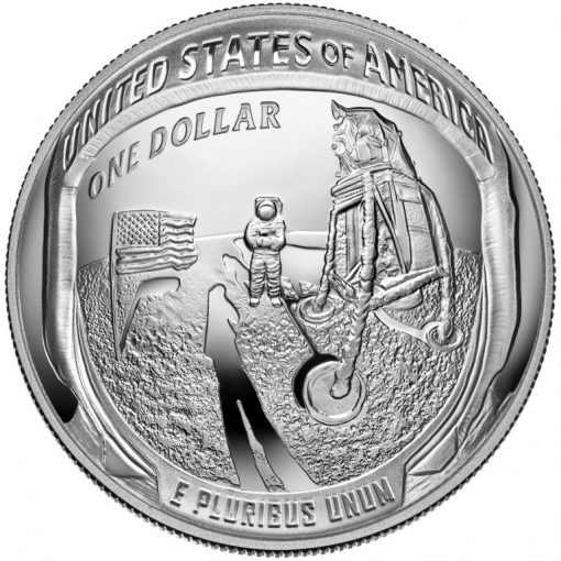 2019-P Proof Apollo 11 50th Anniversary Silver Dollar - Reverse