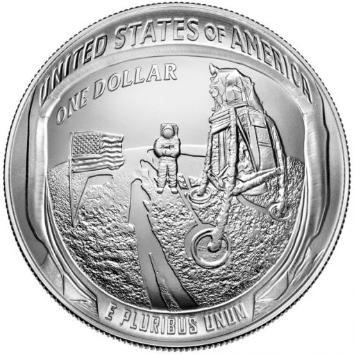 2019-P Uncirculated Apollo 11 50th Anniversary Silver Dollar - Reverse