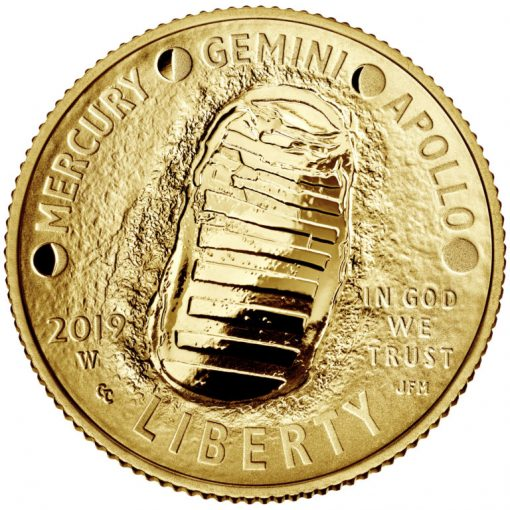 2019-W Proof Apollo 11 50th Anniversary $5 Gold Coin - Obverse