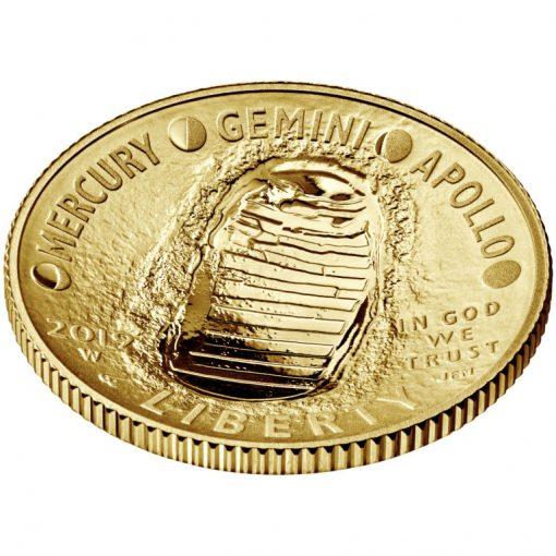 2019-W Proof Apollo 11 50th Anniversary $5 Gold Coin - Obverse Angle