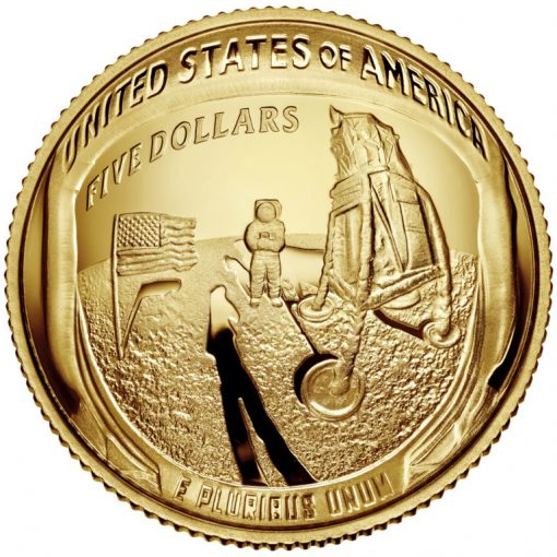 2019-W Proof Apollo 11 50th Anniversary $5 Gold Coin - Reverse