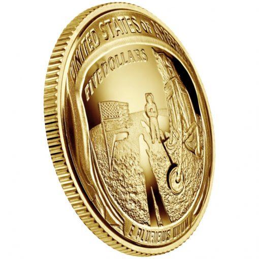 2019-W Proof Apollo 11 50th Anniversary $5 Gold Coin - Reverse Angle