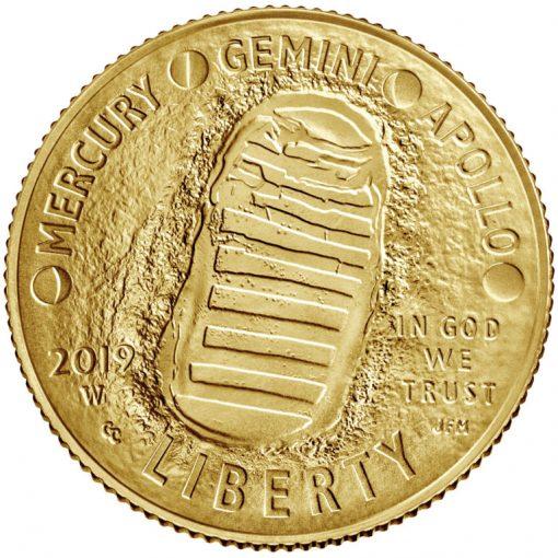 2019-W Uncirculated Apollo 11 50th Anniversary $5 Gold Coin - Obverse