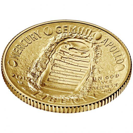 2019-W Uncirculated Apollo 11 50th Anniversary $5 Gold Coin - Obverse Angle