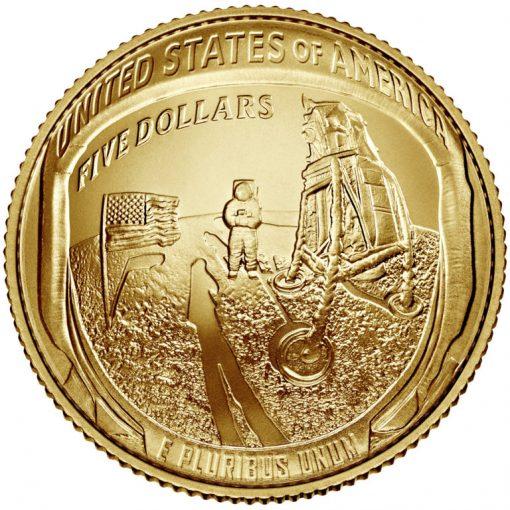 2019-W Uncirculated Apollo 11 50th Anniversary $5 Gold Coin - Reverse
