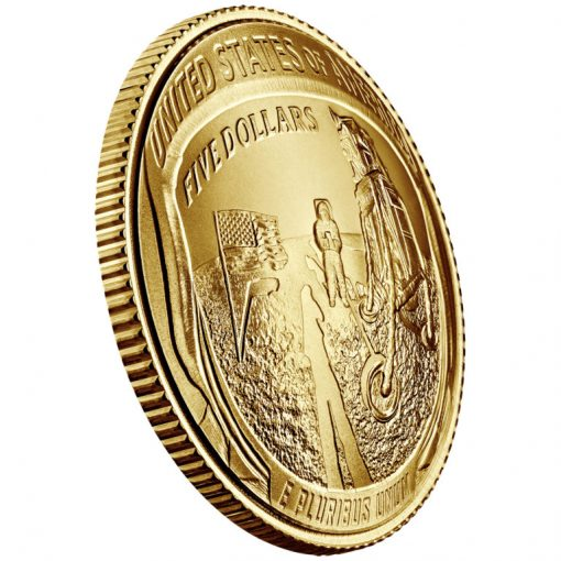 2019-W Uncirculated Apollo 11 50th Anniversary $5 Gold Coin - Reverse Angle