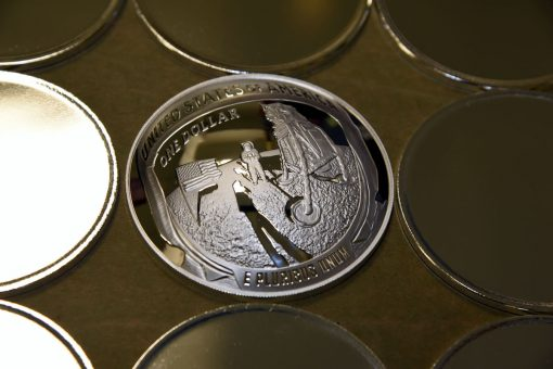 U.S. Mint Photo of 2019-P Proof Apollo 11 50th Anniversary Silver Dollar Reverse