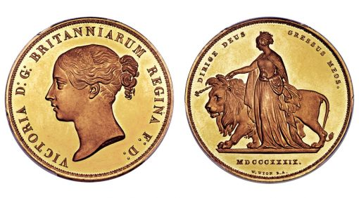 1839 5 Pounds Victoria Gold Proof Una and the Lion