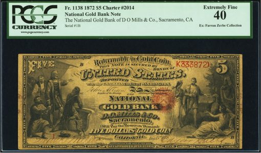 1872 $5 Sacramento National Gold Bank Note