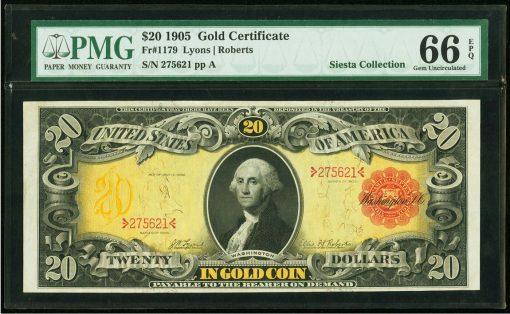 1905 $20 Gold Certificate