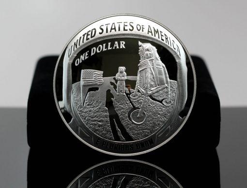 2019-P Proof Apollo 11 50th Anniversary Five Ounce Silver Dollar - Reverse,a