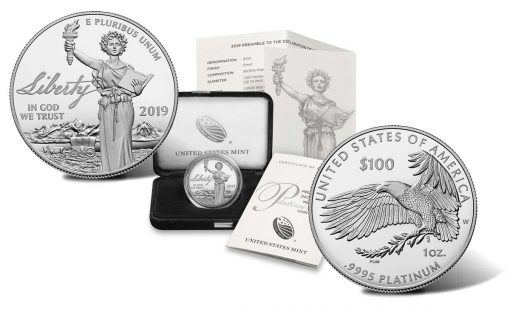 2019-W Proof American Platinum Eagle, Coin, Case and Certificate