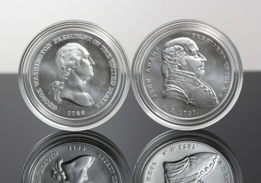 George Washington and John Adams Presidential Silver Medals