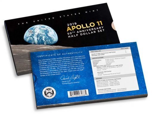 Sleeve of Apollo 11 50th Anniversary 2019 Proof Half Dollar Set