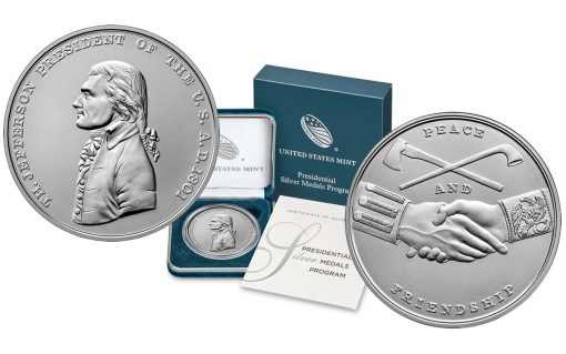 U.S. Mint images for the Thomas Jefferson Presidential Silver Medal