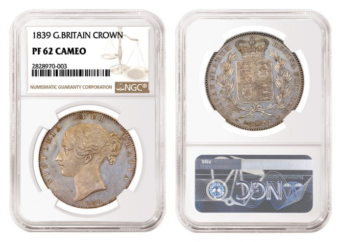 1839 Great Britain Crown Graded NGC PF 62 Cameo