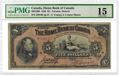 1920 $5 Home Bank Canada - obv