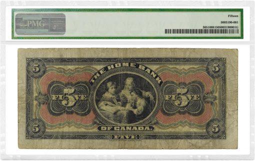 1920 $5 Home Bank Canada - rev