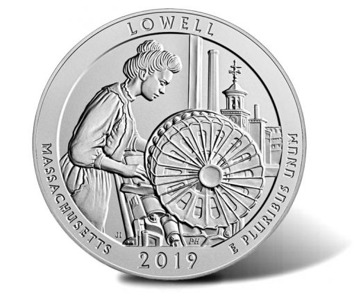 2019-P Lowell National Historical Park Five Ounce Silver Uncirculated Coin - Reverse