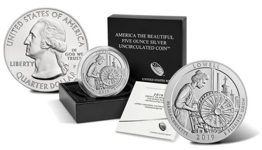2019-P Lowell National Historical Park Five Ounce Silver Uncirculated Coin - Sides and Packaging