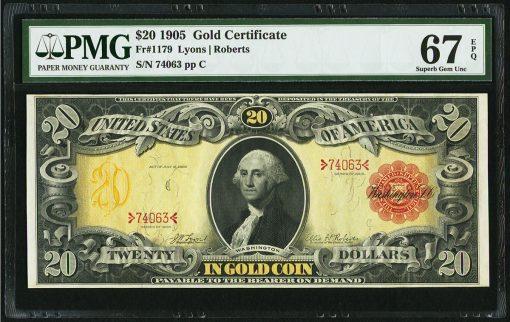 Fr. 1179 $20 1905 Gold Certificate PMG Superb Gem Unc 67 EPQ