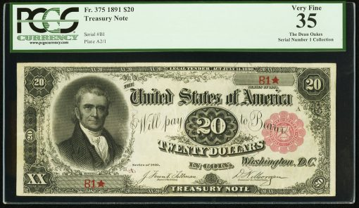 Fr. 375 Serial Number One $20 1891 Treasury Note PCGS Very Fine 35