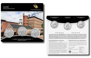 Lowell Quarters for Massachusetts in Three-Coin Set